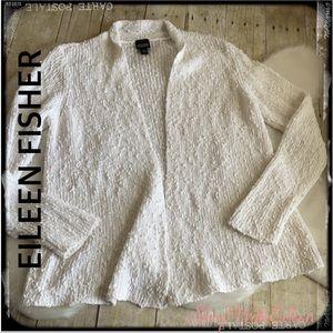 Eileen Fisher Nubby Texture Shawl Collar Cardigan